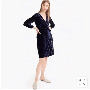 Navy blue velvet wrap dress